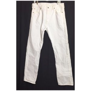 Levi's 501 Button Fly Straight Leg White Jeans